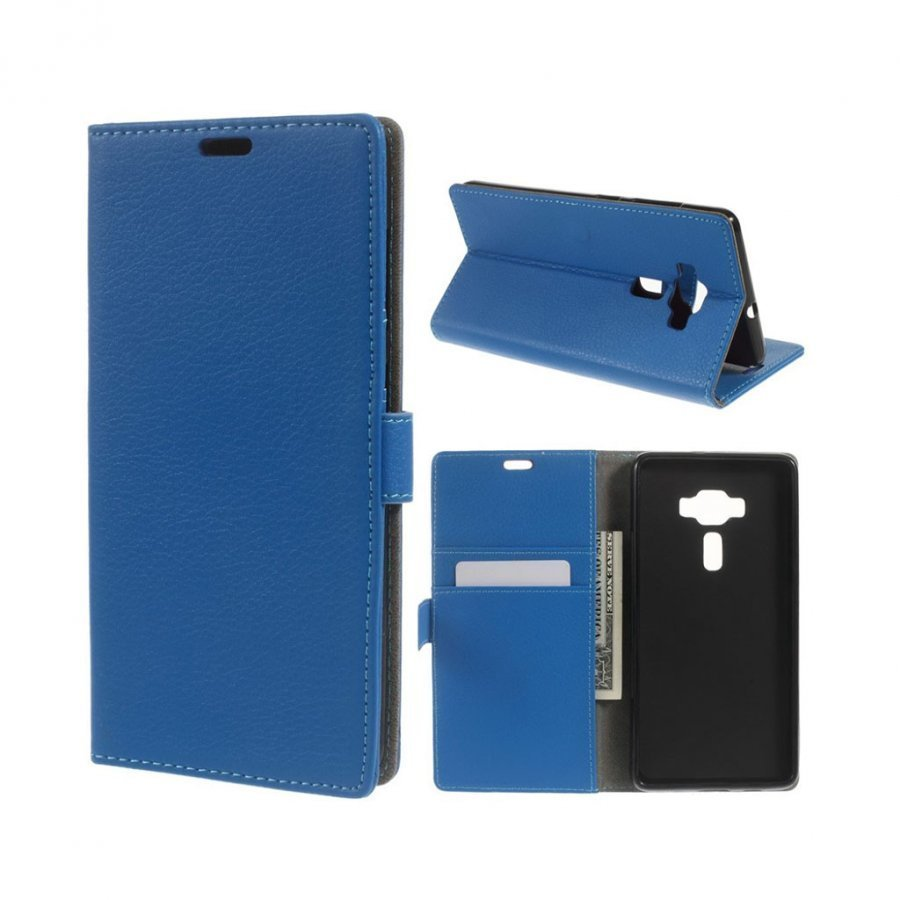 Asus Zenfone 3 Deluxe Zs570kl Litsi Pintainen Nahkakotelo Sininen