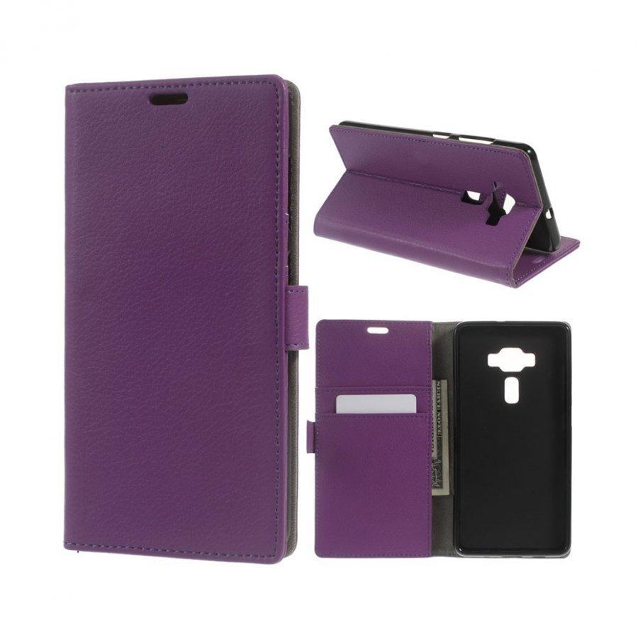 Asus Zenfone 3 Deluxe Zs570kl Litsi Pintainen Nahkakotelo Violetti