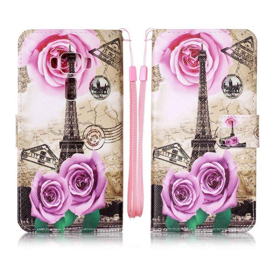 Asus Zenfone 3 Deluxe Zs570kl Nahkakotelo Lompakko Kukkia Ja Eiffel Torni
