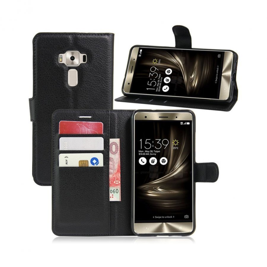 Asus Zenfone 3 Deluxe Zs570kl Nahkakotelo Lompakko Musta