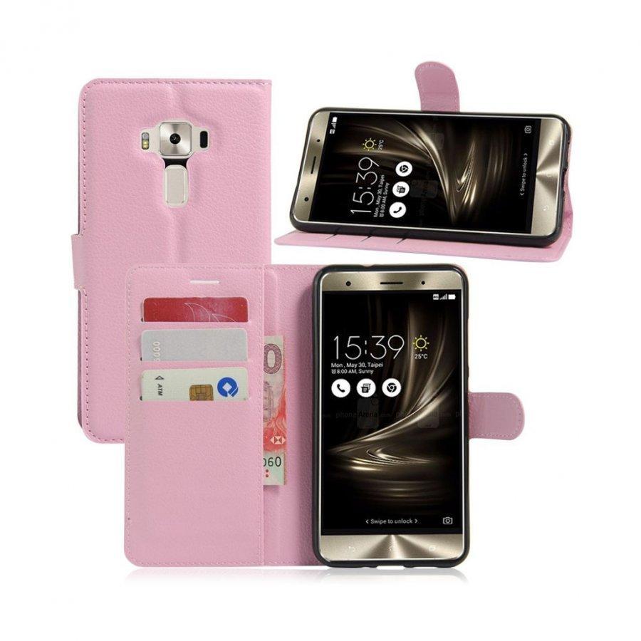 Asus Zenfone 3 Deluxe Zs570kl Nahkakotelo Lompakko Pinkki