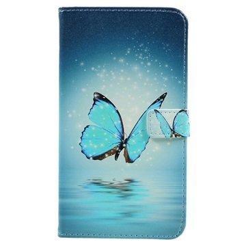 Asus Zenfone 3 Max ZC520TL Glam Wallet Case Blue Butterfly