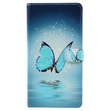 Asus Zenfone 3 Max ZC553KL Glam Wallet Case Blue Butterfly