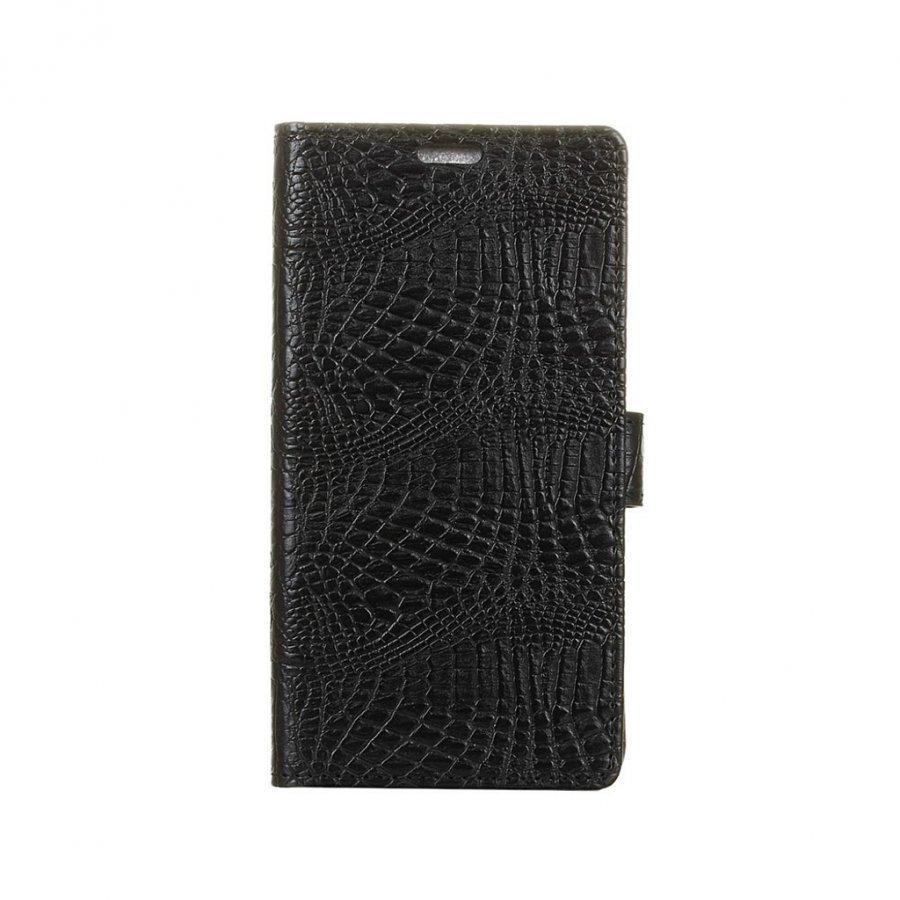 Asus Zenfone 3 Max Zc553kl Krokotiilinnahka Kotelo Musta