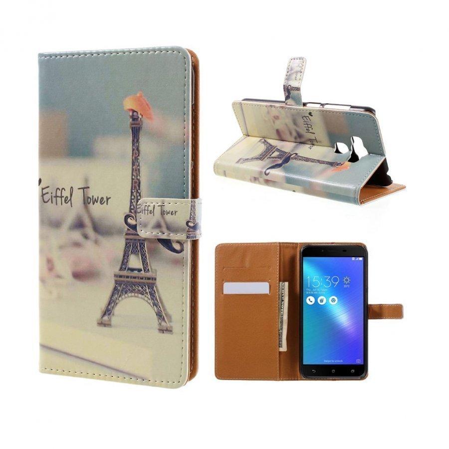 Asus Zenfone 3 Max Zc553kl Kuvioitu Nahkakotelo Eiffel Torni