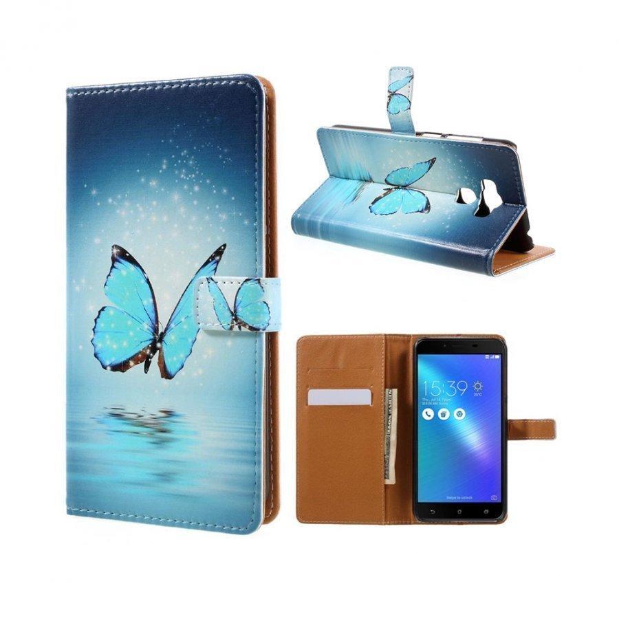 Asus Zenfone 3 Max Zc553kl Kuvioitu Nahkakotelo Sininen Perhonen