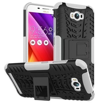 Asus Zenfone Max ZC550KL Anti-Slip Hybridikotelo Musta / Valkoinen