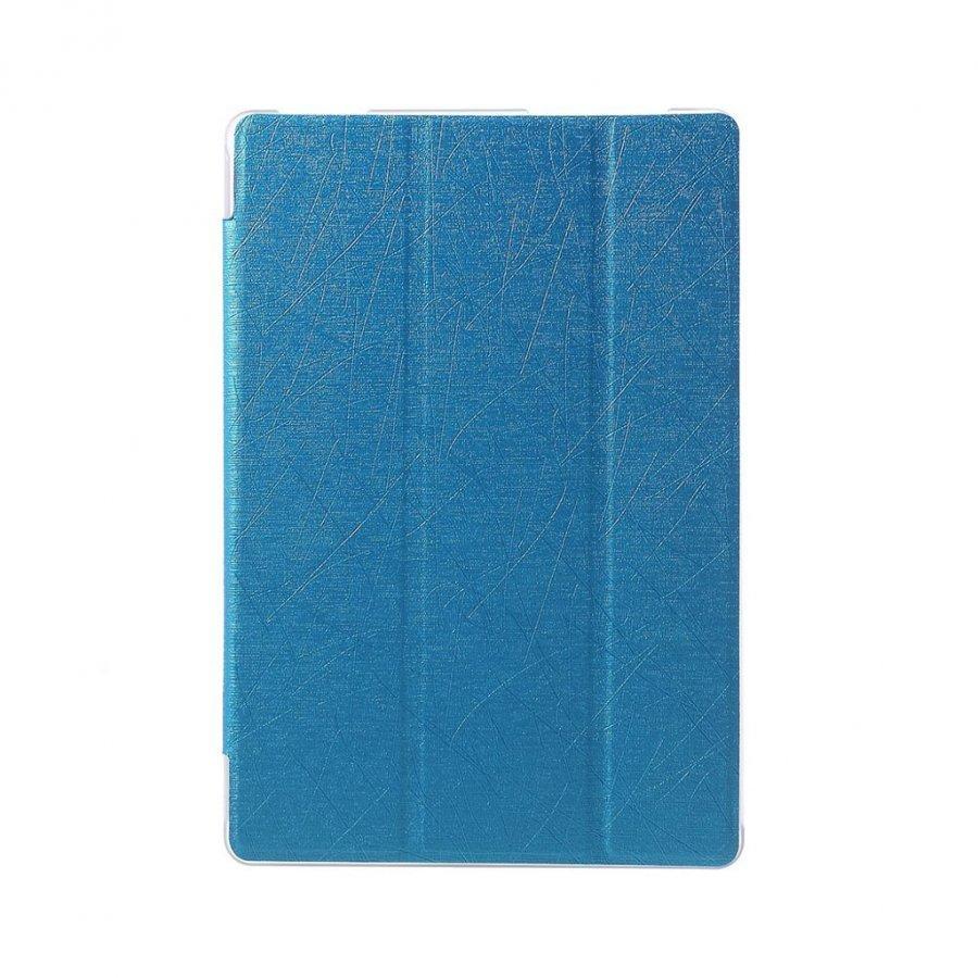 Asus Zenpad 10 Kolmesti Taittuva Nahkakotelo Standillä Sininen