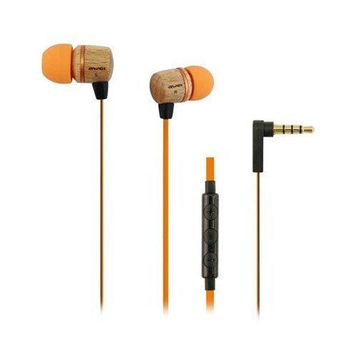 Awei Es-16h1 Wood Flat Cable Nappikuulokkeet Mikrofonilla Älypuhelimille Ja Tableteille Oranssi