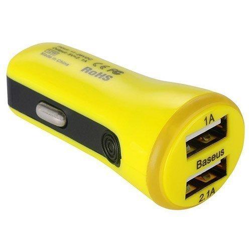 Baseus Keltainen Usb Autolaturi Älypuhelimille Kahdella Ulostulolla