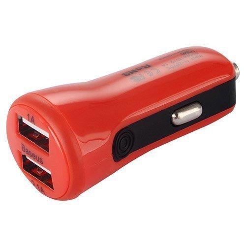 Baseus Punainen Usb Autolaturi Älypuhelimille Kahdella Ulostulolla