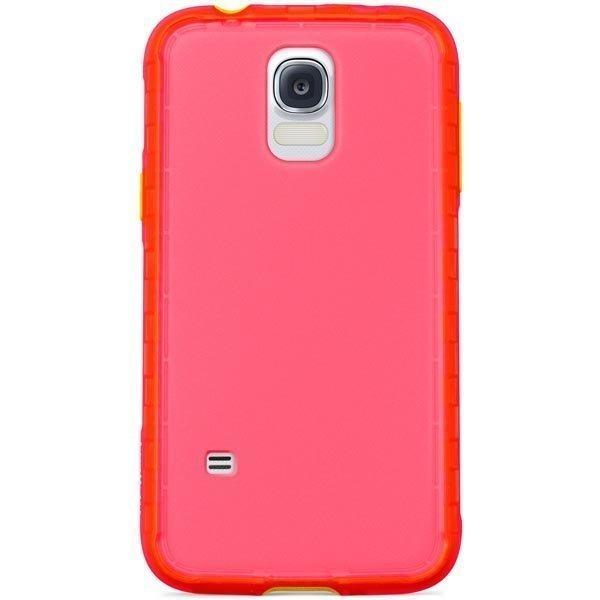 Belkin Grip Extreme muovikuori Galaxy S5 läpinäkyvä vaaleanpun.