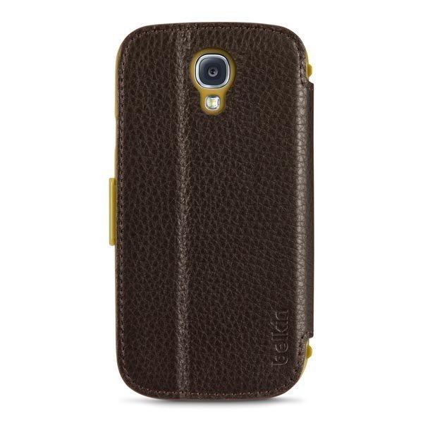 Belkin Premium Leather Folio nahkainen suojus Galaxy S4 tumman rusk