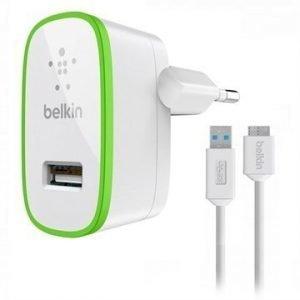 Belkin USB 3.0 Micro-B Matkalaturi Samsung Galaxy S5 Note 3 Valkoinen