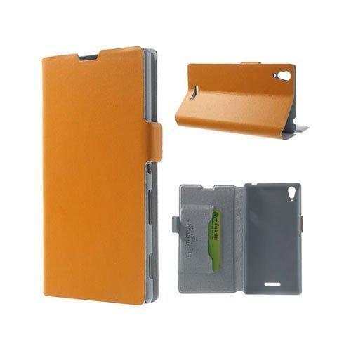 Bellman Oranssi Sony Xperia T3 Genuine Nahkakotelo