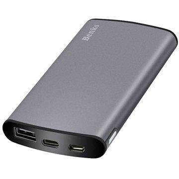 Benks Thor Q1000 Virtapankki Type-C USB 10000mAh Harmaa