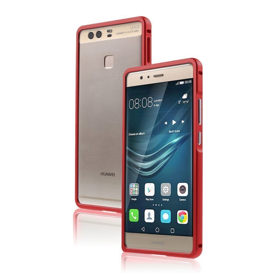 Bergman Alumiini Seos Suojus Huawei P9 Puhelimelle Punainen