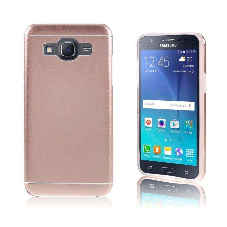 Bergman Tpu Alumiini Seos Kuori Samsung Galaxy J5 Puhelimelle Pinkki Kulta