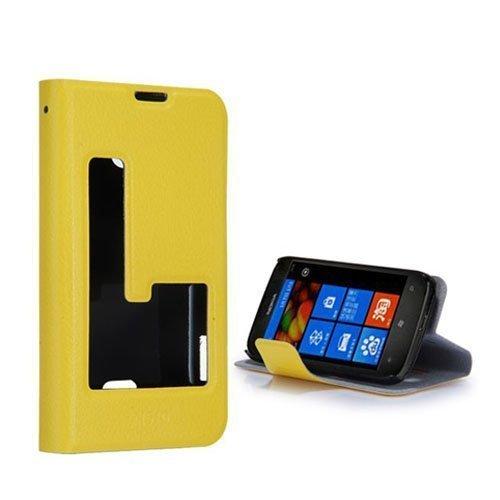 Betha Keltainen Nokia Lumia 510 Nahkakotelo