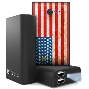 Beyond Cell Yleiskäyttöinen Kaksois USB Virtapankki Amerikan Lippu / Musta
