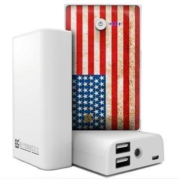 Beyond Cell Yleiskäyttöinen Kaksois USB Virtapankki Amerikan Lippu / Valkoinen