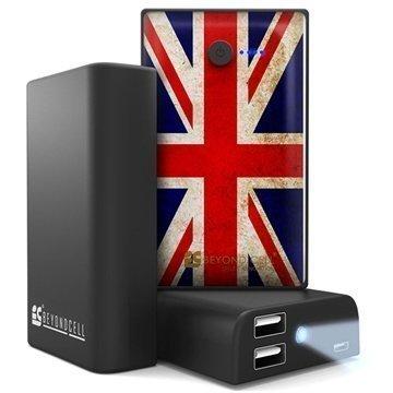 Beyond Cell Yleiskäyttöinen Kaksois USB Virtapankki Britannian Lippu / Musta