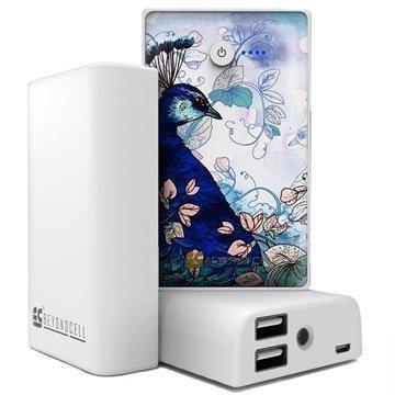 Beyond Cell Yleiskäyttöinen Kaksois USB Virtapankki Sininen Riikinkukko / Valkoinen