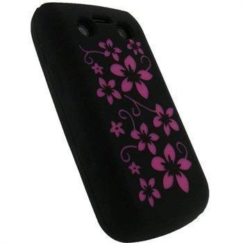 BlackBerry Bold 9700 9780 iGadgitz Kukkakuvioitu Silikonikotelo Musta / Pinkki