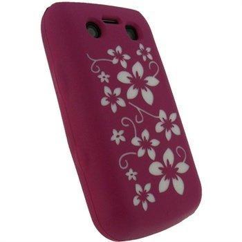BlackBerry Bold 9700 9780 iGadgitz Kukkakuvioitu Silikonikotelo Pinkki / Valkoinen