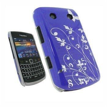 BlackBerry Bold 9700 Bold 9780 iGadgitz Silver Butterflies Kova Suojakuori Purppura