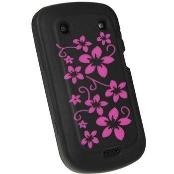 BlackBerry Bold Touch 9900 9930 iGadgitz Kukkakuvioitu Silikonikotelo Musta / Vaaleanpunainen