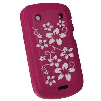 BlackBerry Bold Touch 9900 9930 iGadgitz Kukkakuvioitu Silikonikotelo Vaaleanpunainen / Valkoinen