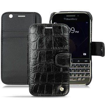 BlackBerry Classic Noreve Tradition B Wallet Nahkakotelo Horizon Crocodile Musta