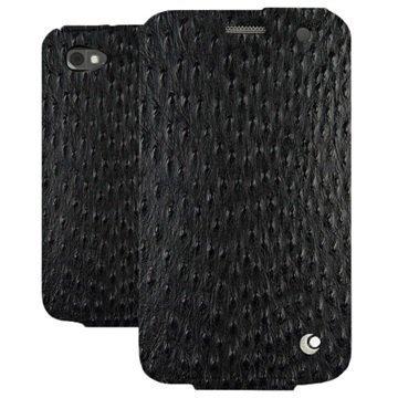 BlackBerry Classic Noreve Tradition Läpällinen Nahkakotelo Horizon Autruche Musta