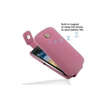 BlackBerry Curve 9380 PDair Leather Case Vaaleanpunainen