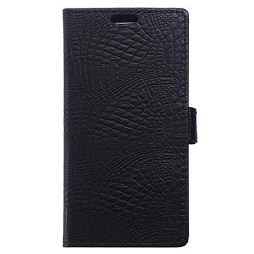 BlackBerry DTEK50 Krokotiili Lompakkokotelo Musta
