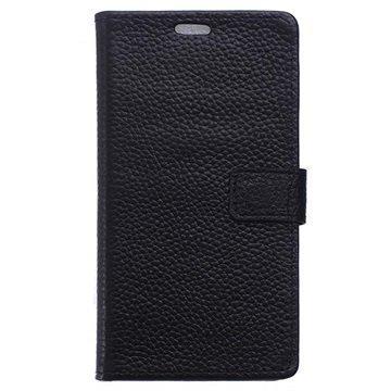BlackBerry DTEK50 Nahkainen Lompakkokotelo Musta