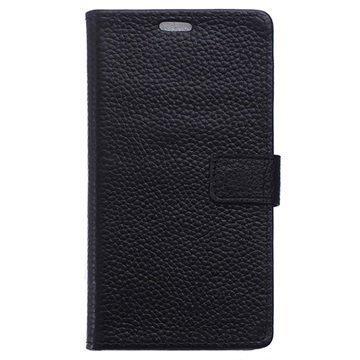 BlackBerry DTEK60 Nahkainen Lompakkokotelo Musta
