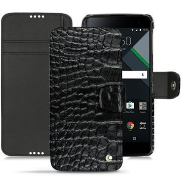BlackBerry DTEK60 Noreve Tradition B Wallet Case Crocodile Black