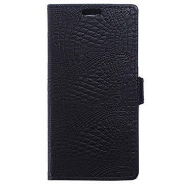BlackBerry Leap Krokotiilinnahkainen Lompakkokotelo Musta