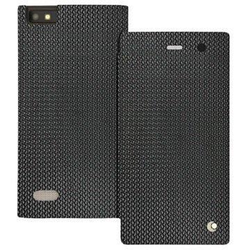 BlackBerry Leap Noreve Tradition D Läpällinen Nahkakotelo Horizon Abaca Musta