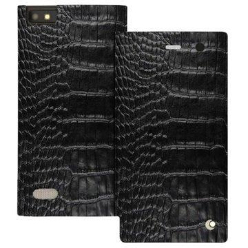 BlackBerry Leap Noreve Tradition D Läpällinen Nahkakotelo Horizon Crocodile Musta