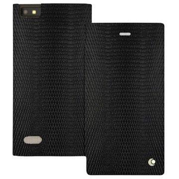 BlackBerry Leap Noreve Tradition D Läpällinen Nahkakotelo Horizon Serpent Musta