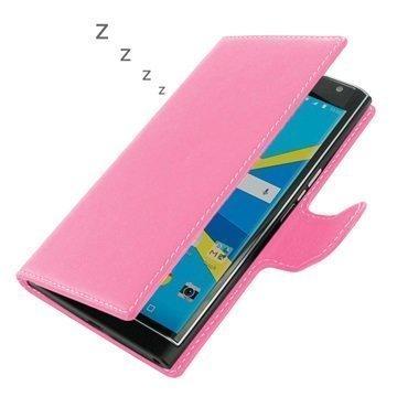 BlackBerry Priv PDair Deluxe Book Type Nahkakotelo Vaaleanpunainen