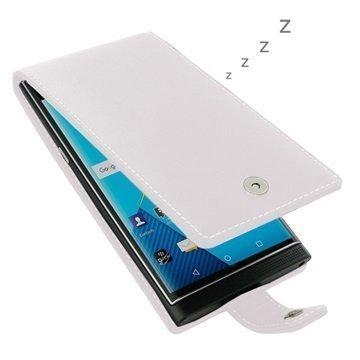 BlackBerry Priv PDair Deluxe Nahkainen Läppäkotelo Branco