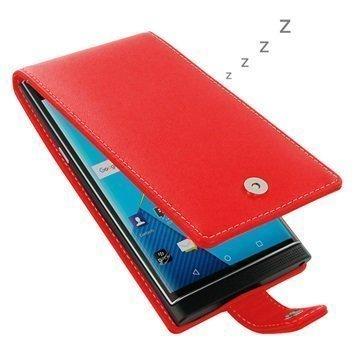 BlackBerry Priv PDair Deluxe Nahkainen Läppäkotelo Punainen