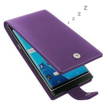 BlackBerry Priv PDair Deluxe Nahkainen Läppäkotelo Violetti