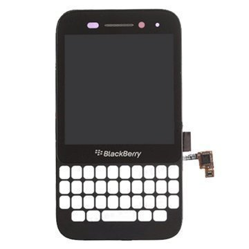 BlackBerry Q5 Etukuori & LCD Näyttö Musta