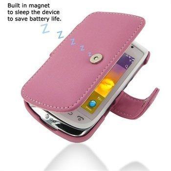 BlackBerry Torch 9810 PDair Leather Case Vaaleanpunainen