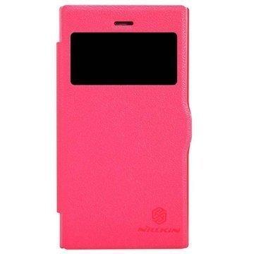 BlackBerry Z3 Nillkin Fresh -Sarjan Nahkainen Läppäkotelo Punainen